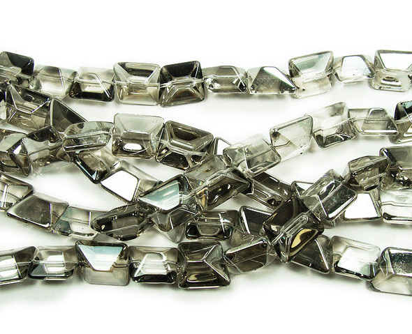 14x16mm  12 inches Clear with silver AB finish glass faceted nugget beads