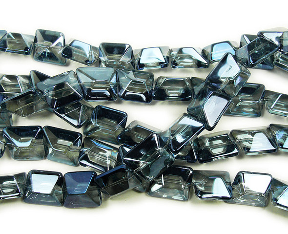14x16mm  12 inches Clear with gunmetal blue AB finish glass faceted nugget beads