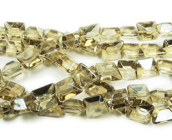 14x16mm  12 inches Light champagne glass faceted nugget beads