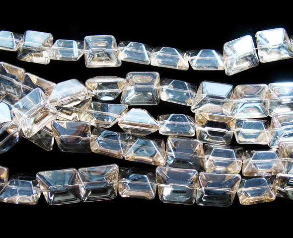 14x16mm  12 inches Clear with light yellow AB fnish glass faceted nugget beads