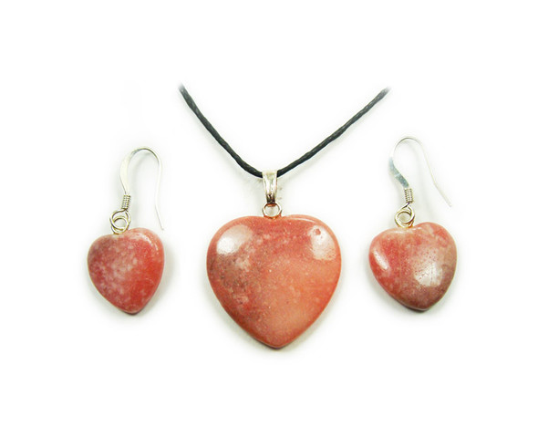 20x20mm Rhodonite matching heart necklace and earring set