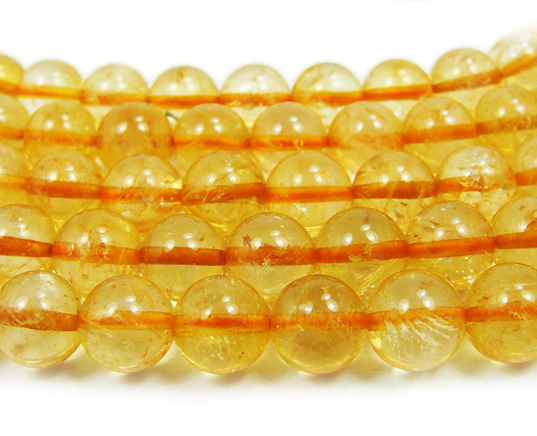 "11-12mm 15.5"" Strand Citrine Smooth Round Beads"