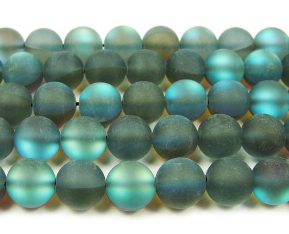 12mm Dark Gray Moonlight Crystal Matte Round Beads