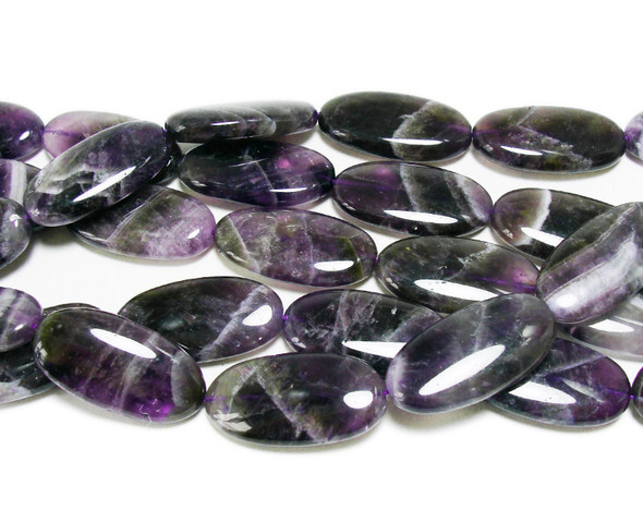 15x30mm Amethyst puffed oval beads