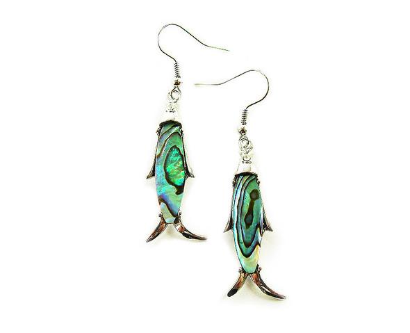 10x35mm  silver hooks Abalone fish earrings