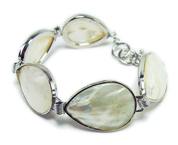 7.5 - 8.5 Inches Mother Of Pearl Shell Teardrop Fashion Bracelet