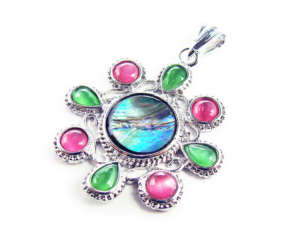 33mm Abalone shell flower pendant with silver metal frame
