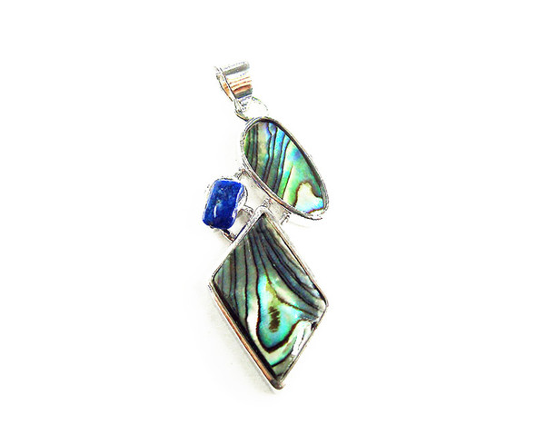 17x35mm Abalone and lapis diamond pendant with silver metal frame