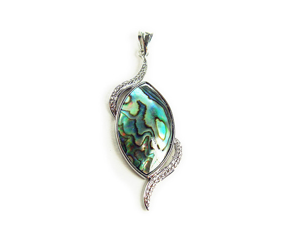 27x53mm Abalone Marquee Pendant With Silver Metal Frame