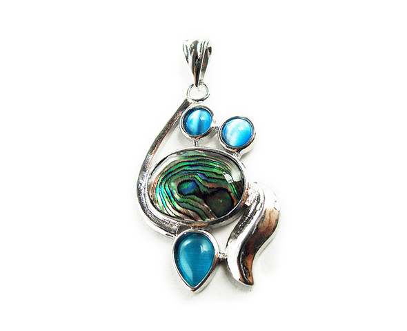 24x35mm Abalone And Cat'S Eye Fancy Pendant With Silver Metal Frame
