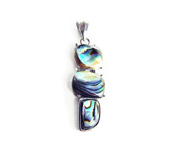 16x40mm Abalone Shell 3-Piece Free Form Pendant With Silver Metal Frame