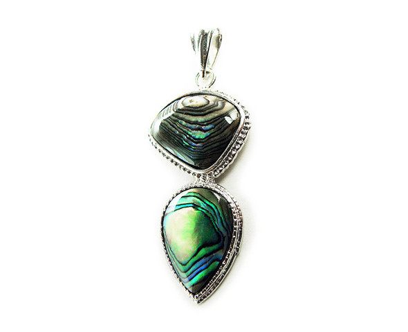 21x38mm Abalone Shell 2-Piece Free Form Pendant With Silver Metal Frame