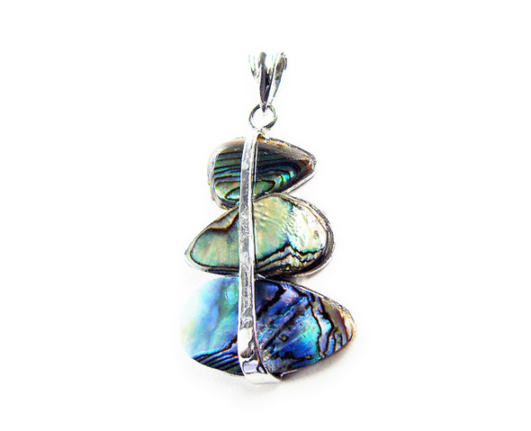 27x35mm Abalone Shell 3-Piece Teardrop Pendant With Silver Metal Frame