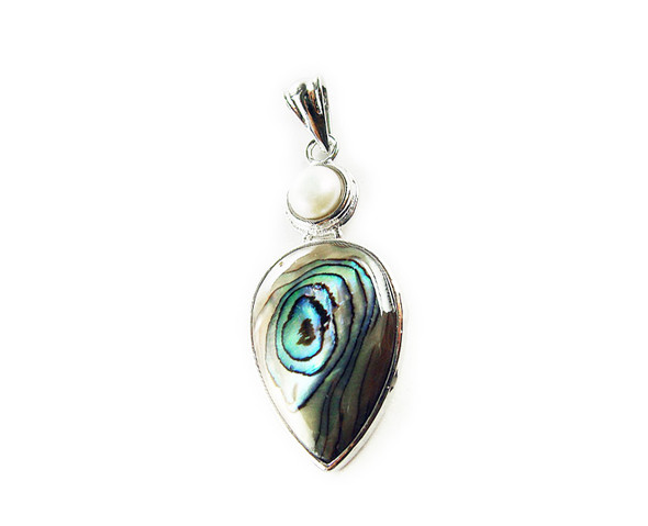 20x35mm Abalone and white pearl teardrop pendant
