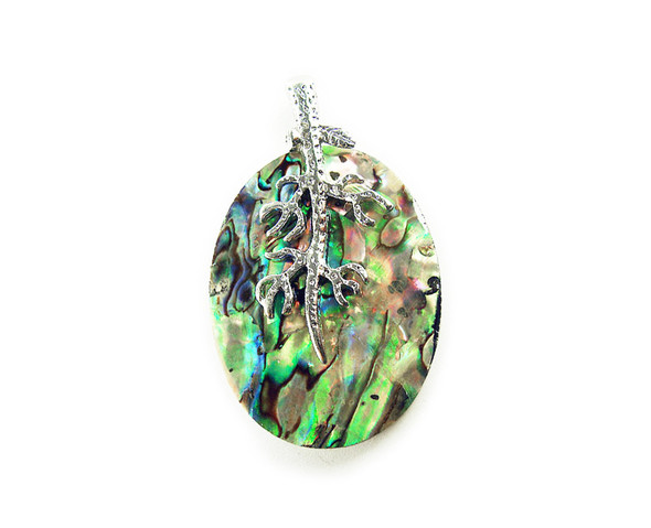 30x40mm Abalone flat oval pendant with a silver metal frame