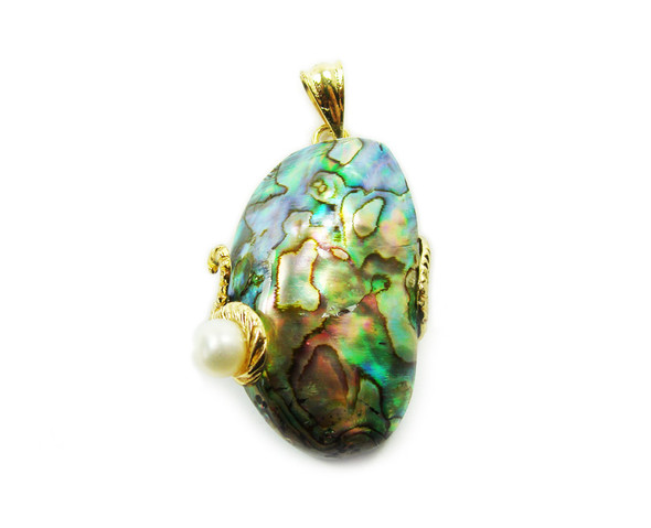 25x40mm Abalone And White Pearl Oval Pendant In Gold Metal Frame
