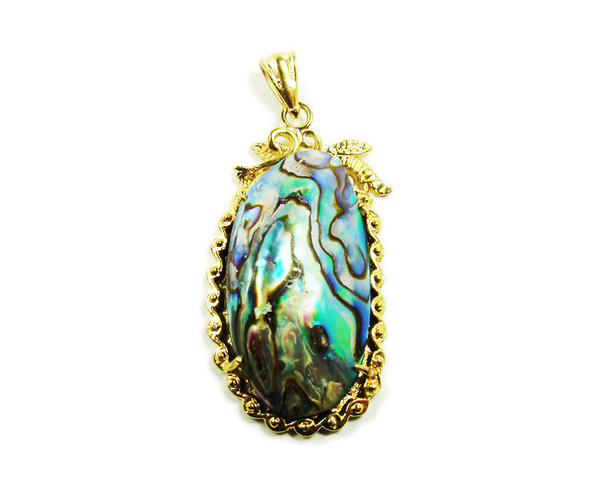 25x40mm Abalone Shell Oval Pendant In Gold Metal Frame