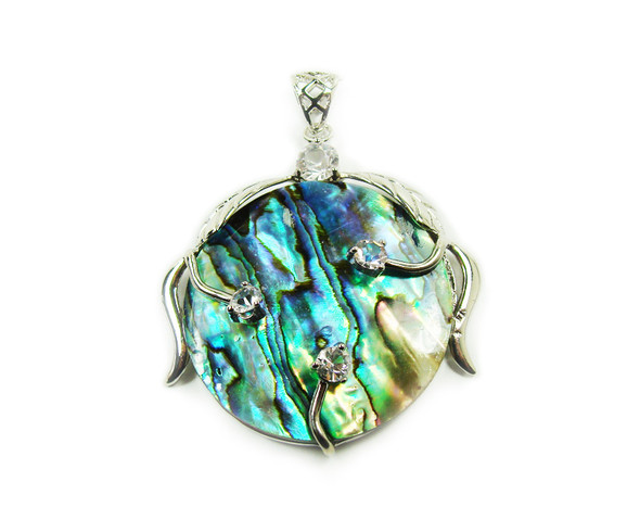 40mm Abalone And Rhinestone Round Pendant In Silver Metal Frame