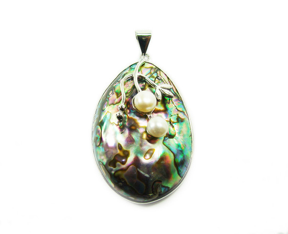 35x50mm Abalone And Pearl Large Oval Pendant In Silver Metal Frame