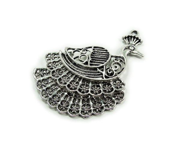 45x45mm Bali style silver pewter large peacock charm