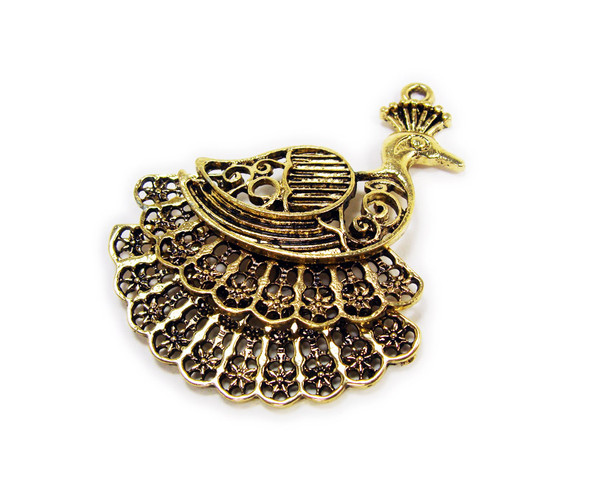 45x45mm Bali style antiqued brass large peacock charm