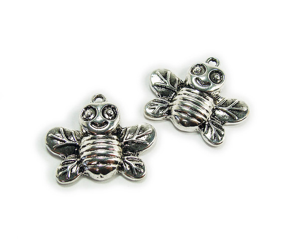 20x24mm  pack of 2 Bali style silver pewter cheerful bumble bee charms