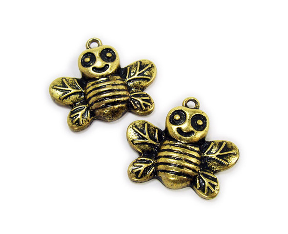 20x24mm  pack of 2 Bali style antiqued brass cheerful bumble bee charms