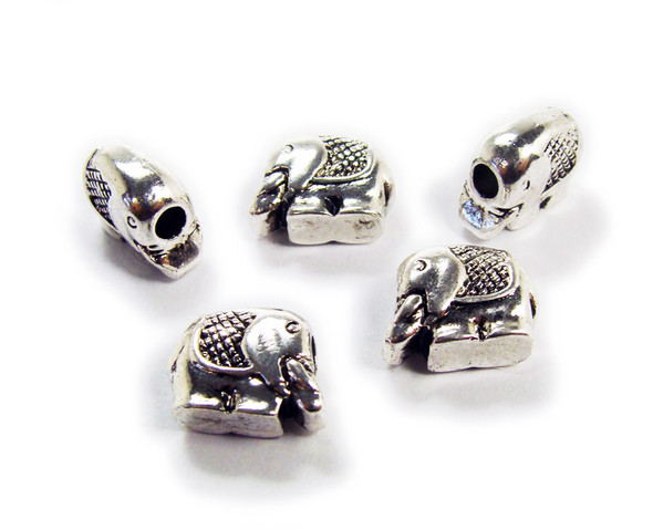 10x11mm  pack of 5 Bali style silver pewter thick elephant beads