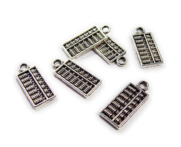 8x16mm  pack of 10 Bali style silver pewter high detail abacus charms