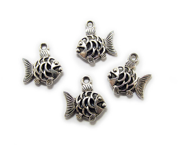 14x14mm  pack of 20 Bali style silver pewter fancy fish charms