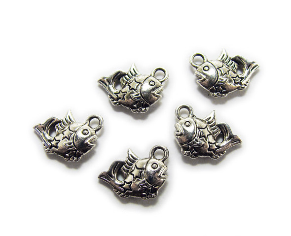 12x14mm  pack of 20 Bali style silver pewter decorated fish charms with stars