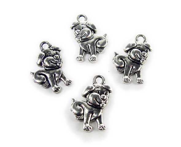 12x16mm  pack of 20 Bali style silver pewter smiling puppy dog charms