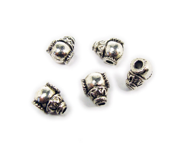 8x10mm  pack of 10 Bali style silver pewter circus cannon beads