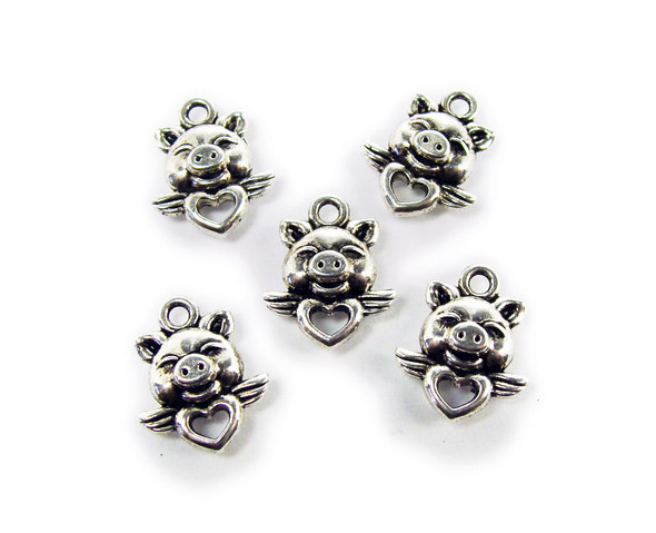 12x15mm  pack of 20 Bali style silver pewter pig with heart charms