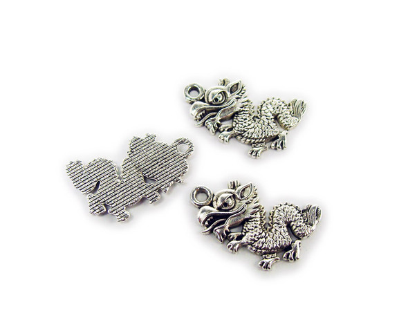12x16mm  pack of 20 Bali style silver pewter flat chinese dragon charms