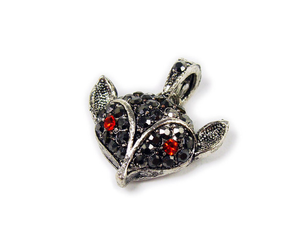 18x20mm Antiqued pewter fox pendant with black CZ stones