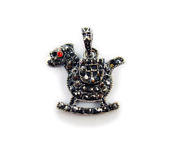 22x22mm Antiqued pewter rocking horse pendant with black CZ stones