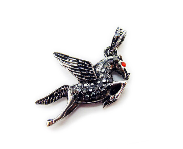 20x24mm Antiqued pewter pegasus pendant with black CZ stones