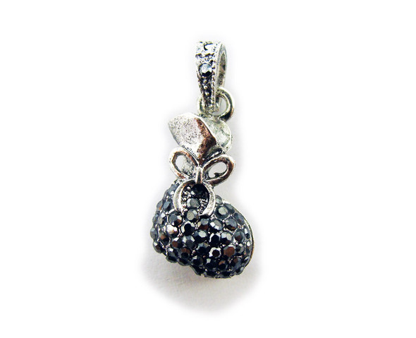 14x24mm Antiqued pewter money bags with black CZ stone pendant
