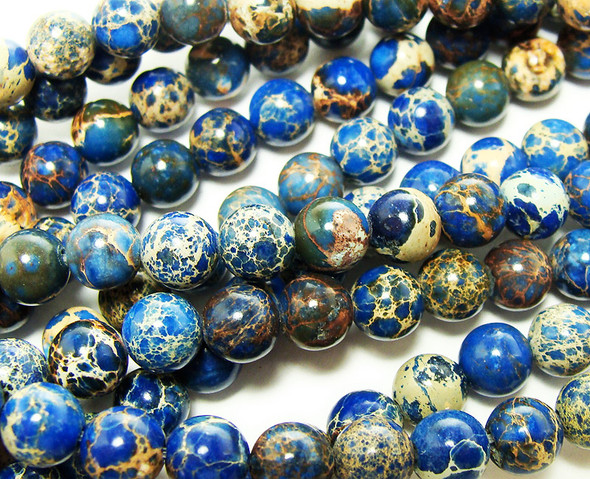 4mm Blue Imperial Jasper Round Beads