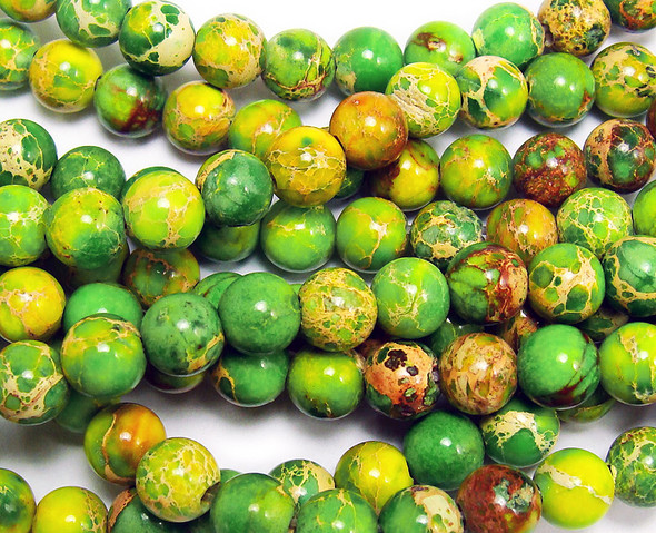 4mm Light Green Imperial Jasper Round Beads