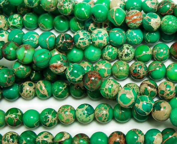 6mm Green Imperial Jasper Round Beads