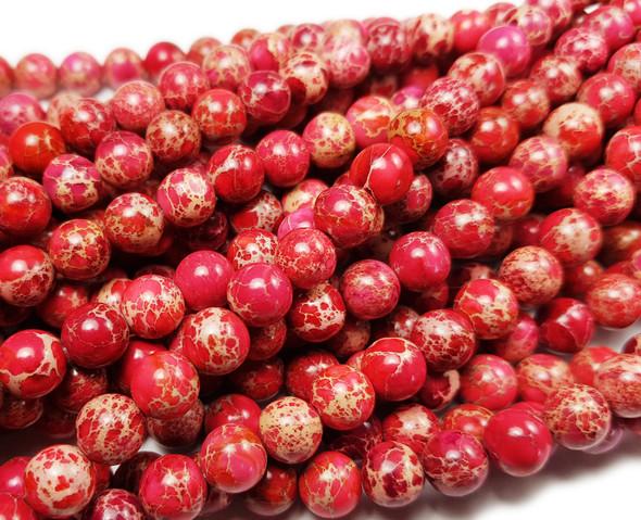 8mm Red Imperial Jasper Round Beads