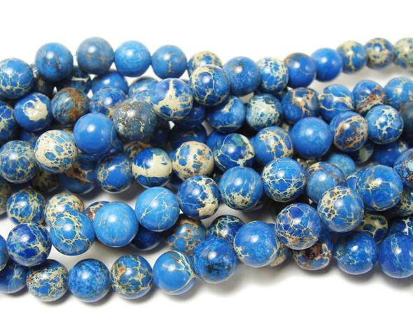 8mm Lapis Blue Imperial Jasper Round Beads