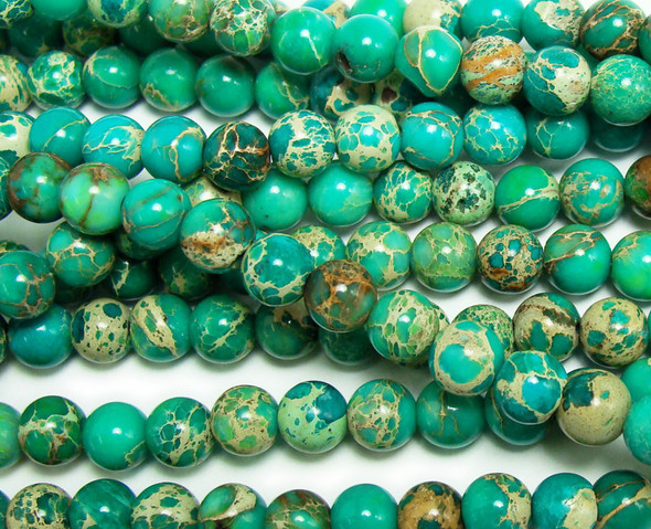 8mm Green Imperial Jasper Round Beads