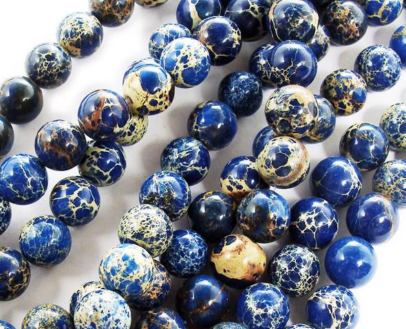 10mm Lapis Blue Imperial Jasper Round Beads