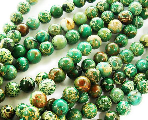 10mm Green Imperial Jasper Round Beads