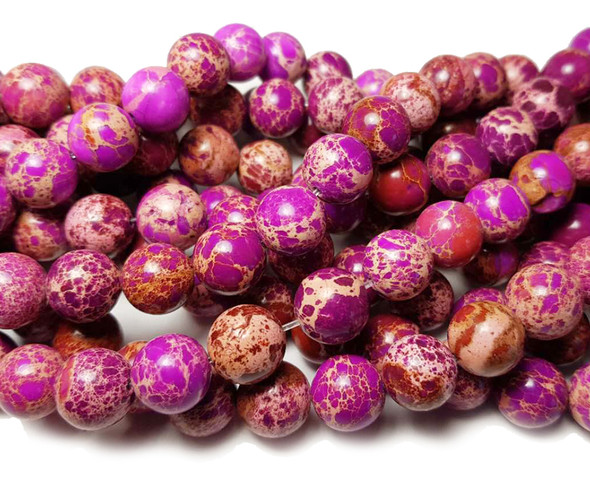 12mm Fuchsia Imperial Jasper Round Beads