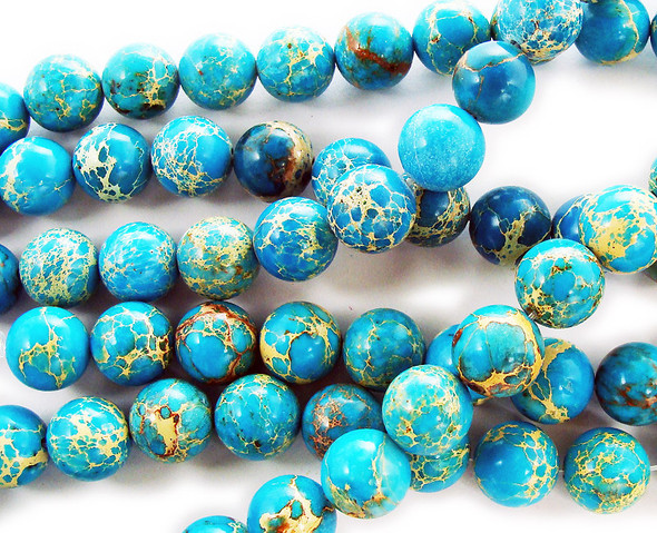 12mm Turquoise Imperial Jasper Round Beads