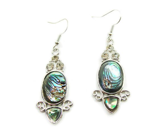 18x37mm Abalone shell oval earrings with rhinestones